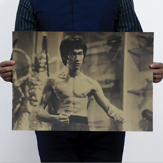 Bruce Lee / Vintage Brown Paper posters painted core / bar decorative painting 51x35.5cm(China (Mainland))