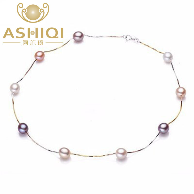 ASHIQI 100% 925 sterling silver pearl necklace,real natural Freshwater pearl jewelry for women gift SINN