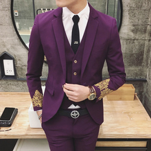 Terno Masculino Business Blazer Suits 2016 Wedding Club Suits For Man Fashion Jacquard Men Suit With Groom Jacket+Pant+Vest