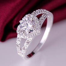 2016 wedding jewelry stamped 925 silver rings for women silver ring heart white zircon wedding rings party jewelry XJ388(China (Mainland))