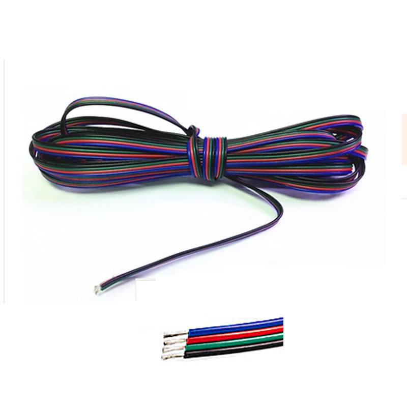 1m 2m 3m 4m 5m 10m 20m 50m 100m 4 Pin Channels cable for 5050 3528 RGB LED Strip Light Module Extension Wire Cord(China (Mainland))