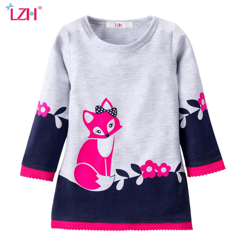 LZH Girls Dress Costume For Kids Children Cute Fox Embroidered Long-Sleeved Dress Girls Party Dresses 2017 Spring Girls Clothes(China (Mainland))