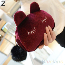Portable Cartoon Cat Coin Storage Case Travel Makeup Flannel Pouch Cosmetic Bag 2UHH
