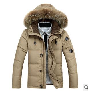 2015 Men's thick winter jacket large size 3XL men's casual warm fur collar coat - yixiaoerguo's store