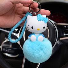 2018 Olá Kitty Corda de Couro Chave Do Carro Urso Charme Dos Desenhos Animados Sorte Chaveiro gato Pele De Coelho Pom Pom Fofo Saco do Anel Chave de Cadeia titular(China)