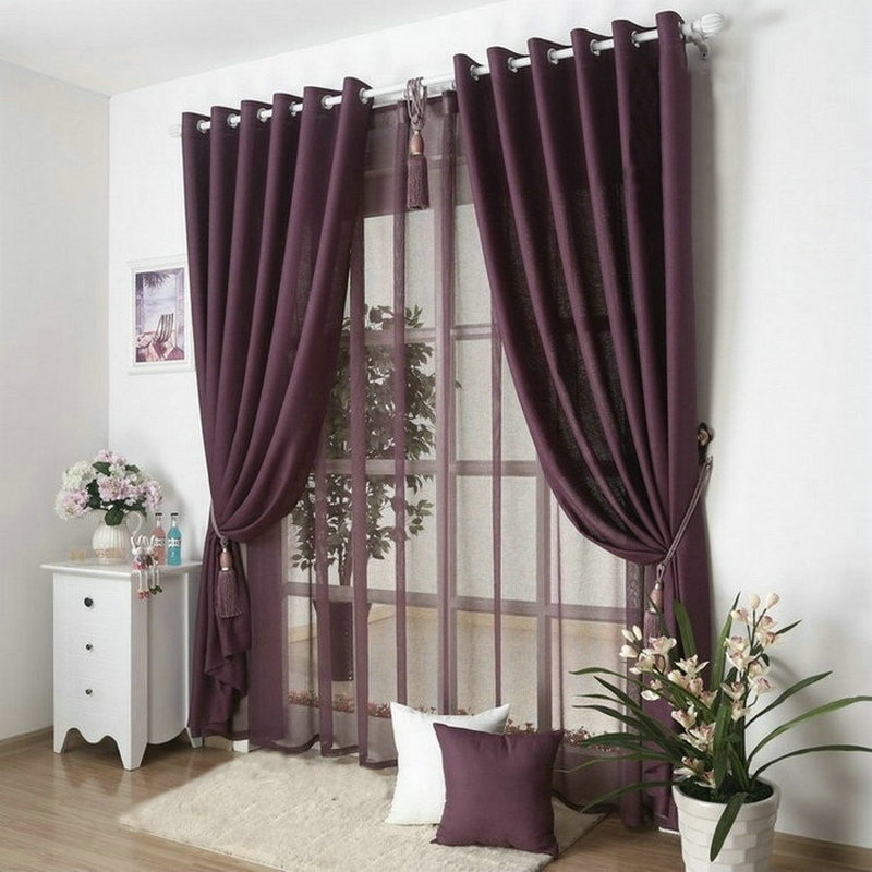 New Arrival Solid Color Curtains For Living Room Plain Curtains Voile 9 Colors Grey Burgundy