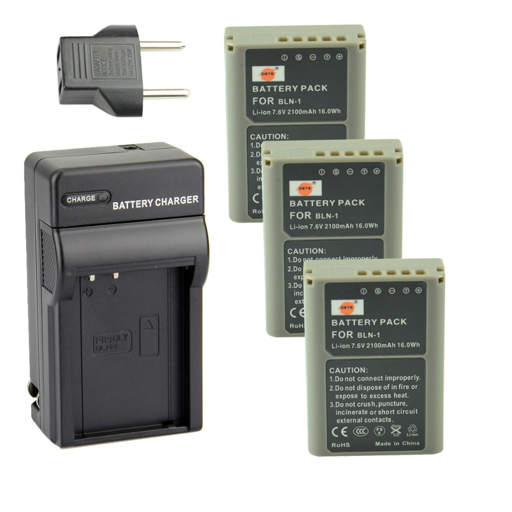 DSTE 3PCS BLN-1 Rechargeable Li-ion Battery + Charger For Olympus E-M5 OM-D E-M1 E-P5 Camera