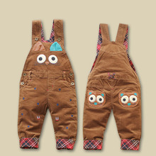 Spring autumn new boys and girls cartoon owl overalls kids casual corduroy overall trousers baby denim overalls children pants