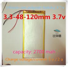 [ L367 ] 3.7 В, 2700 мАч, [ 3348120 ] ; полимерная ion / литий-ионная батарея ( LGg cell ) для планшет пк, Зарядное устройство, Gps, Модель самолета