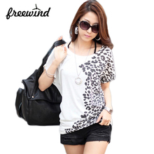 2016 new fashion plus size t shirt women clothing summer sexy tops tee clothes tops t-shirts Loose printing bats shirt(China (Mainland))