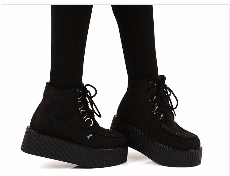 RoseG Women's High Top Suede Lace Up Flat Platform Creepers Shoes Boots