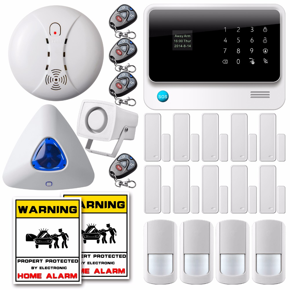 New 2.4G WiFi Alarm System GSM GPRS SMS Home House Security Alarm System Wireless Smoke Detector Triangle Flash Strobe Siren(China (Mainland))