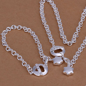 S107 925 silver jewelry set,classic style,fashion jewelry,Nickle free antiallergic Inlaid Ring And Stars Two-Piece Jewelry Set