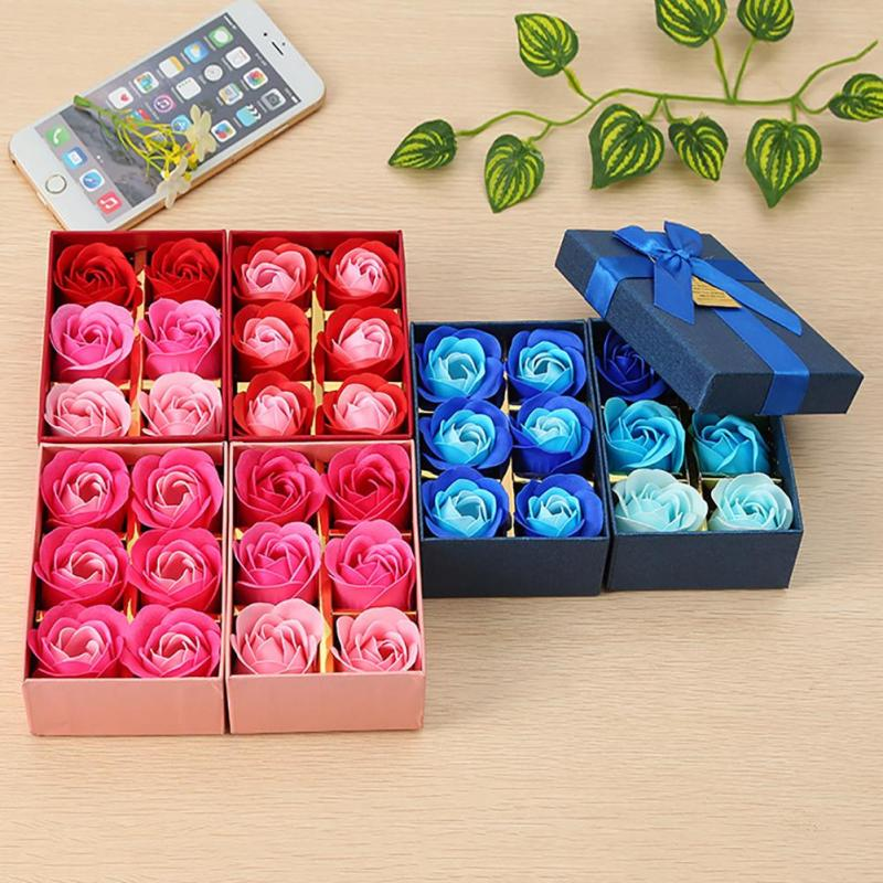 Scented Bath Soap Rose Soap Flower Petal with Gift Box For Mother's day Gift Wedding Valentine's Day 6Pcs / Set Present 45(China (Mainland))