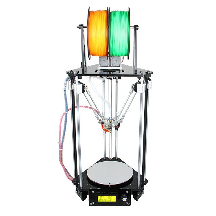 Auto Level Dual Extruder 3D Printer Auto Kits Support 4 Materials Geeetech New Upgraded Delta Rostock Mini G2S