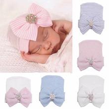 Baby Infant Colorful Striped Cap Hospital Newborn Soft Beanie Bow Rhinestone Hat