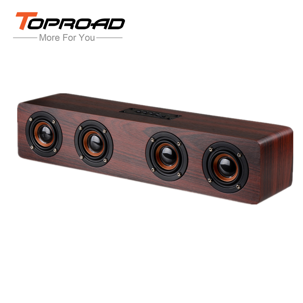 TOPROAD 12W Hifi Bluetooth Speakers Wireless Stereo Subwoofer Speaker Wood Home Audio speaker Support Handsfree TF caixa de som(China (Mainland))