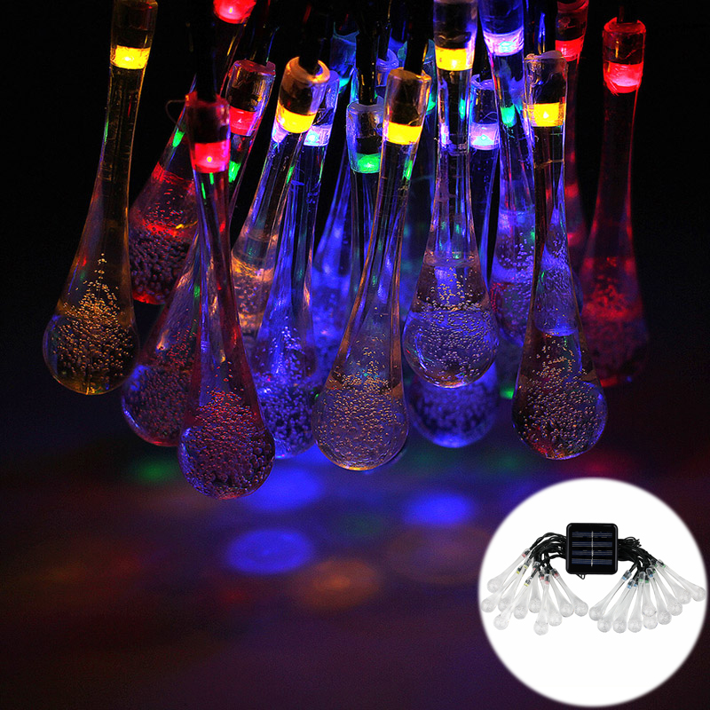 TIWKICH 4.8M 20leds Solar Powered Outdoor LED String Lights Crystal Waterdrop Light for Christmas Tree/Wedding/Party Decoration<br><br>Aliexpress