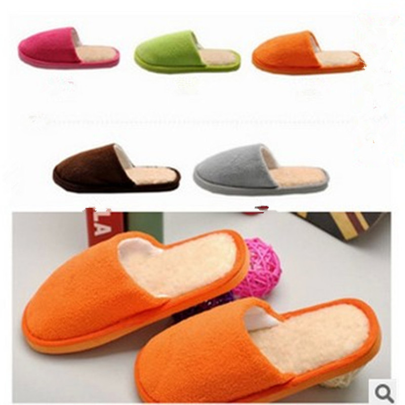 New Arrival Fashion 5 Candy Colorful Winter Home Slippers Women Men Lovers Cotton Warm Floor\Indoor Flat Shoes Size 37-45<br><br>Aliexpress