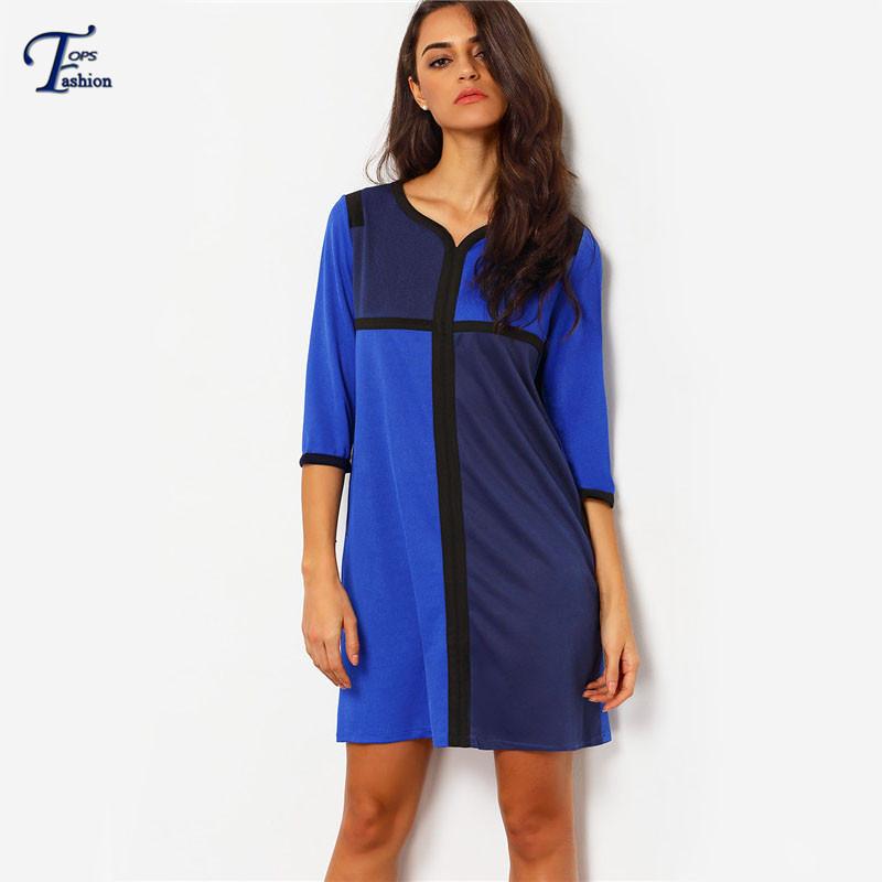 2016 springsummer novelty fashion female clothing european style women royal blue color block half - Color Block Vetement