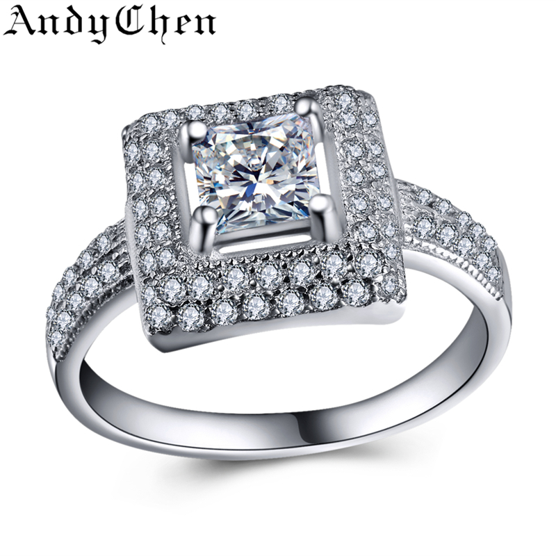 Square Genuine 925 Sterling Silver Jewelry Pure Solid 4.5 Gram CZ Diamond Engagement Rings For Women Wedding Bague Bijoux SSR006(China (Mainland))