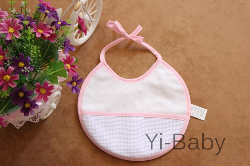 Free shipping 12PCS/Set YB0011pink Baby waterproof bib Infant saliva towels Burp Cloths Cross stitch bib Baby bib(China (Mainland))