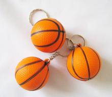 Free shipping 4.0cm diameter basketball  keychain ,pu foam material basetball keyring 12pcs/lot(China (Mainland))