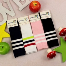 2-7years cotton Knee-high four color black blue white pink sock