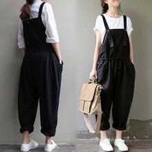 Spring Autumn New Fashion Women Bib Overalls 2016 Designer trousers Casua Loose Long Black Cotton Pants Plus Size 3XL B163