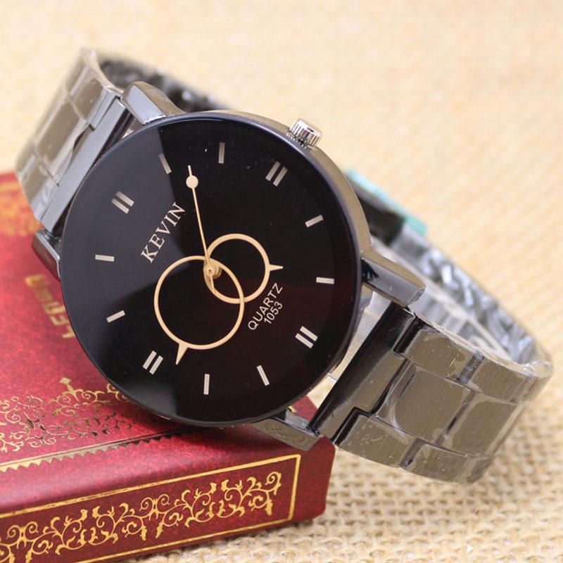 KEVIN Black Round Dial Stainless Steel Band Quartz Wrist Watch Women s Men Gift