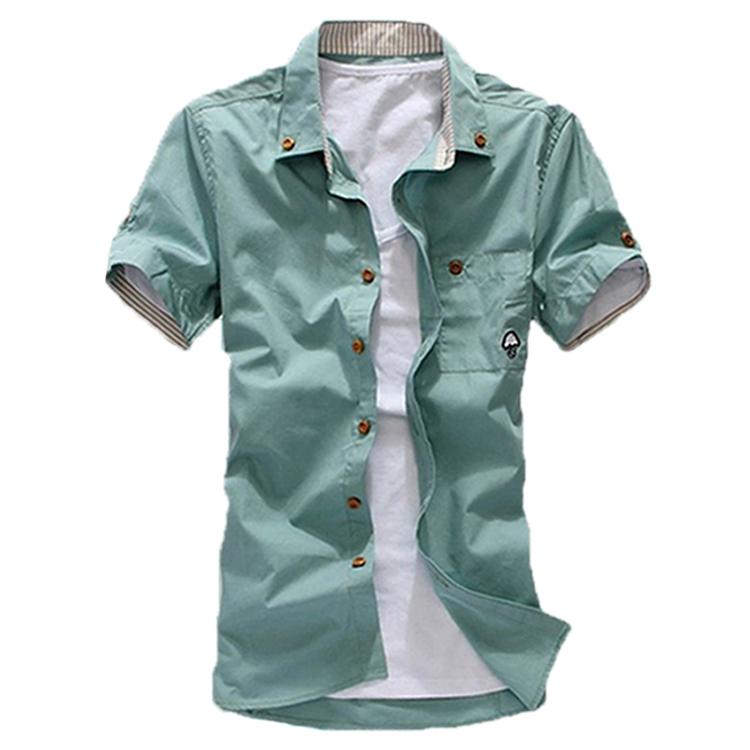 2015 homens de manga curta camisa de manga curta camisa cusual verão camisa de algodão camisa sociais(China (Mainland))