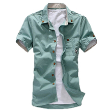2015 men short sleeve shirt summer short-sleeve slim shirt cusual Summer Style Men's Shirt Cotton Short Sleeve Shirt