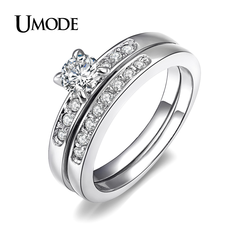 UMODE White Gold Plated Brilliant With Pave Band Cubic Zirconia Wedding
