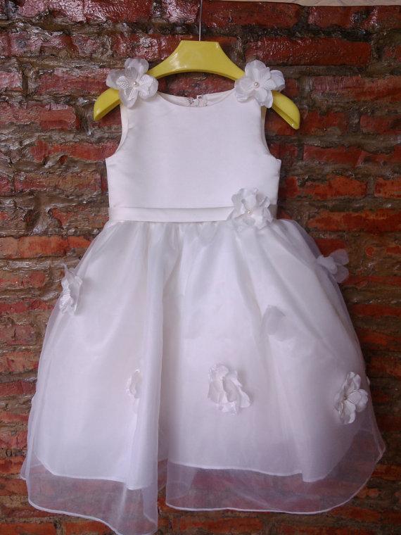 White/Ivory Tulle Satin Flower Girl Dress with Rose Flower Sash Infant Toddler Party Wedding Dress<br><br>Aliexpress