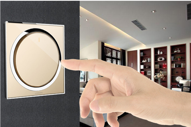 86 Size 1 Gang 1 Way Home Glass Panel Acrylic Material Light Button Screen Wall Socket Switch Golden White 250V 10A