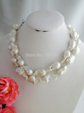 HUGE AAA+ SOUTH SEA WHITE BAROQUE PEARL NECKLACE 14K A-2140(China (Mainland))