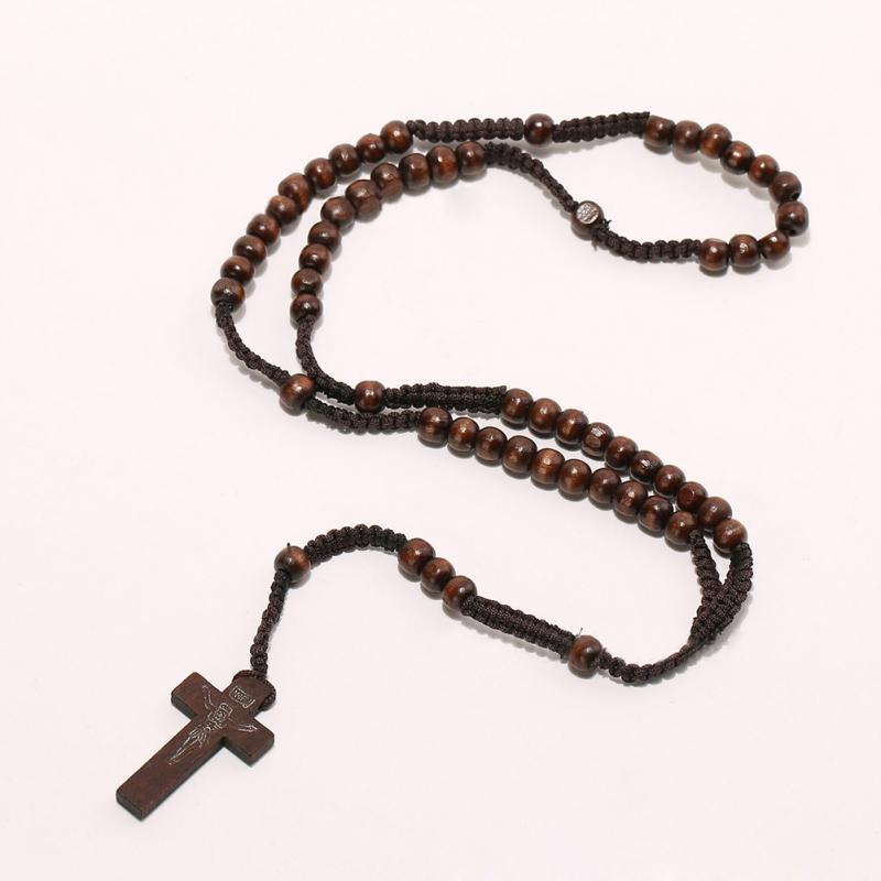 Wholesale retro style men women catholic christ wooden rosary bead getsubject aeproduct aloadofball Choice Image