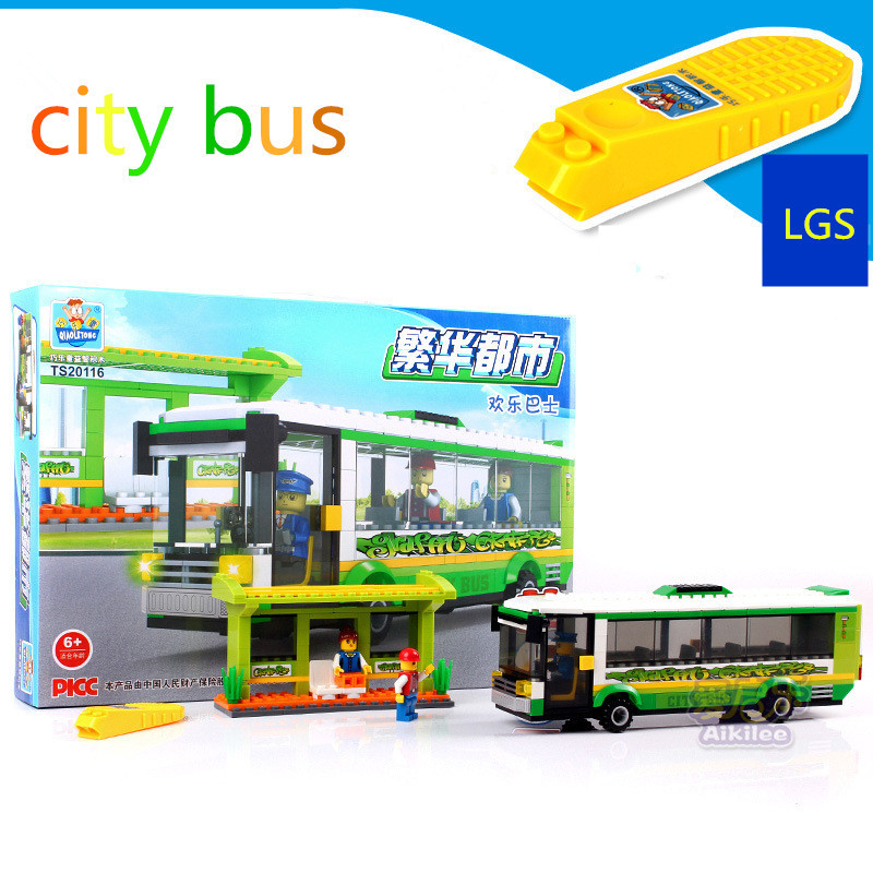 free shipping nice quality and cheap fashion design best toys for children building block assemble city bus(China (Mainland))