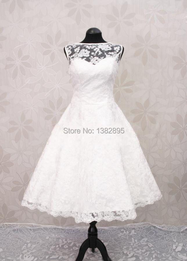 2015free shipping fashionable new white ivory short lace for Ivory tea length wedding dress