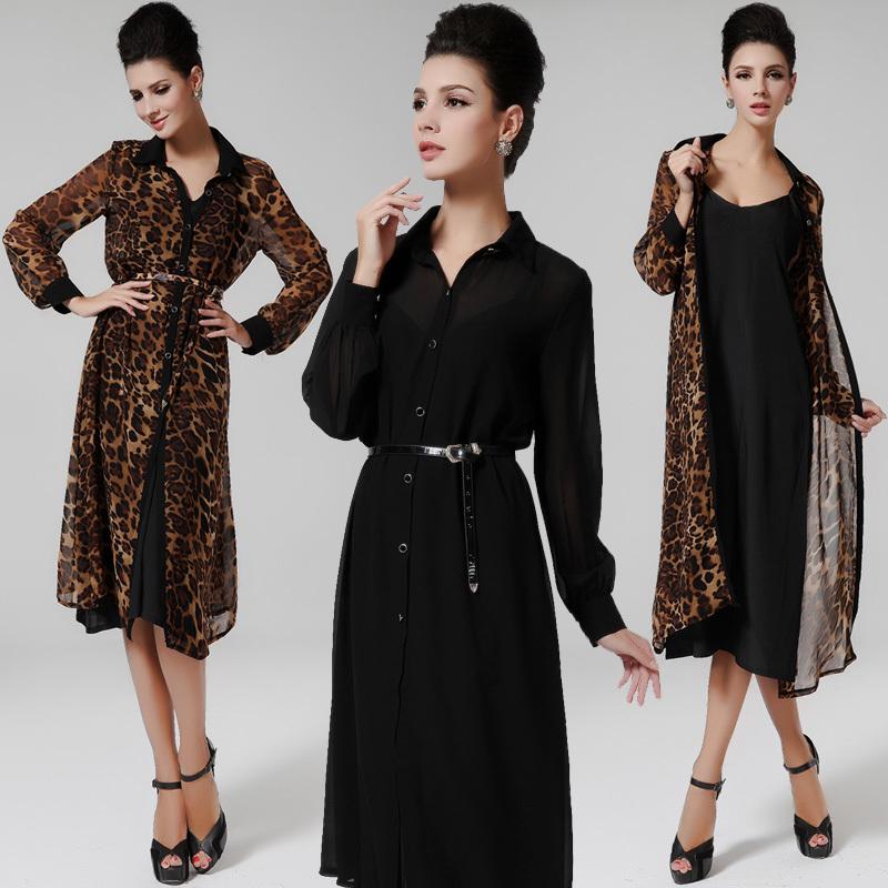 2015 Summer New Sexy Women Lapel Collar Leopard Dress Chiffon Shirts Dress With Matching With Halter Top 5M01(China (Mainland))