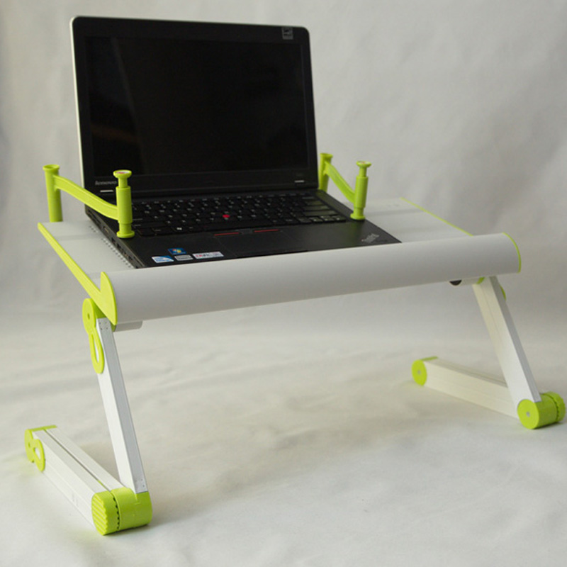 Portable Folding Swivel Adjustable Laptop Stand with Big Fan White Color Green Joint and Plastic Mouse Pad Book Clmaping(China (Mainland))