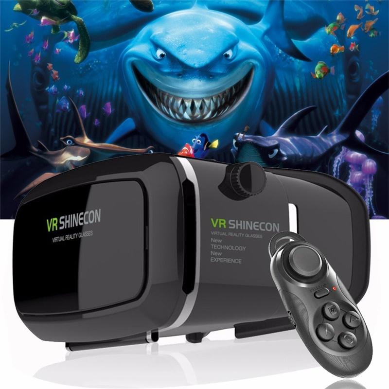 Hot!2016 Google Cardboard VR shinecon Pro Version VR Virtual Reality 3D Glasses +Smart Bluetooth Wireless Remote Control Gamepad(China (Mainland))