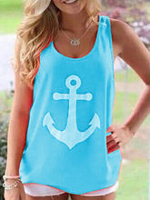 2015 New Fashion Women Summer Anchor Print Vest Sleeveless Crew Neck shirts sexy backless Casual Bow Tank Tops Free shipping(China (Mainland))