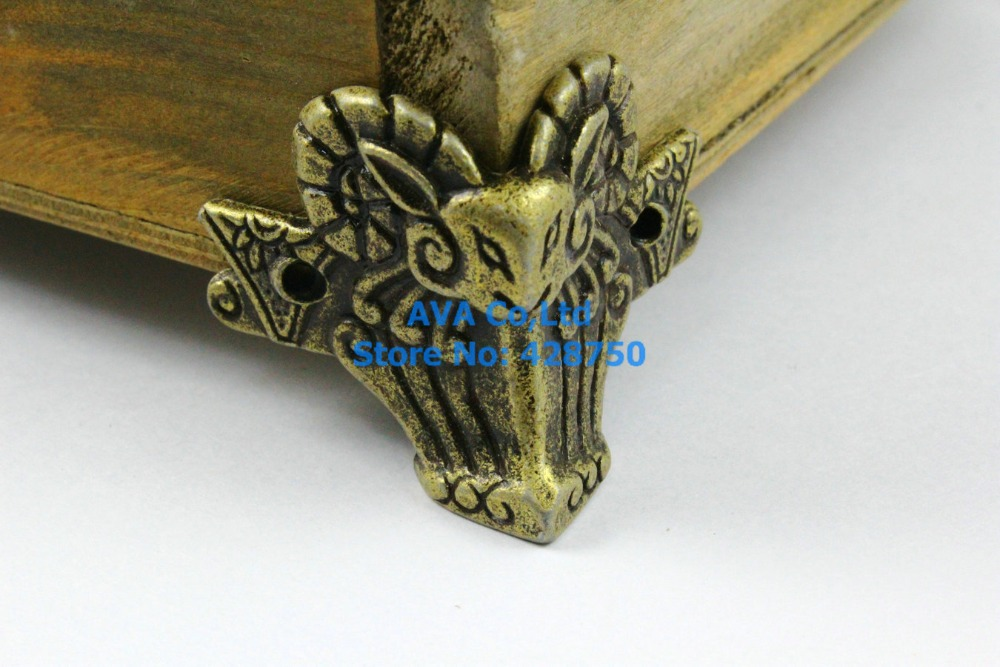 4 Pieces Antique Brass Jewelry Box Feet Animal Box Leg 44x36mm