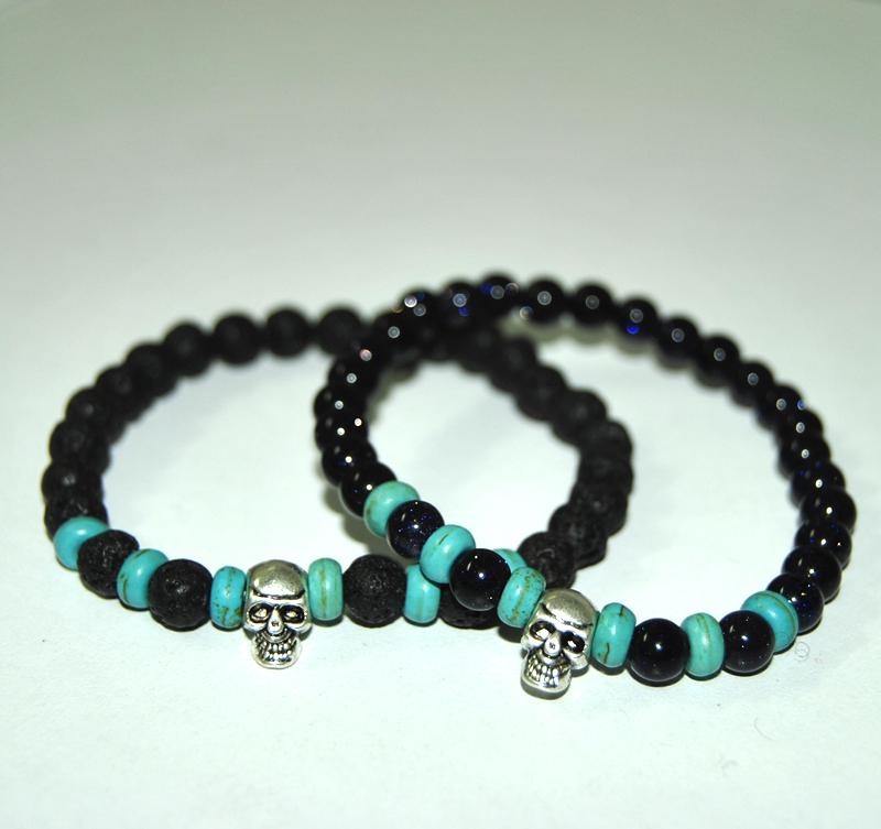 Cool Skeletons Bracelet Turquoise spacer beads 6mm Lava Blue sandstone Star bracelet Tibetan silver skull Bracelets - Ailsa Jewelry store