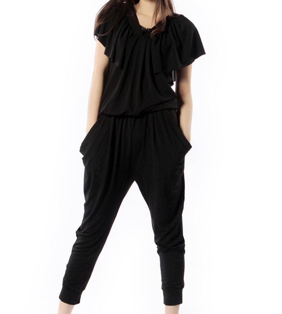 Free Shipping 2013 New Fashion Jumpsuits Rompers For Women Summer Harem Pants Black Loose Discount Black Short Sleeve JumpsuitОдежда и ак�е��уары<br><br><br>Aliexpress