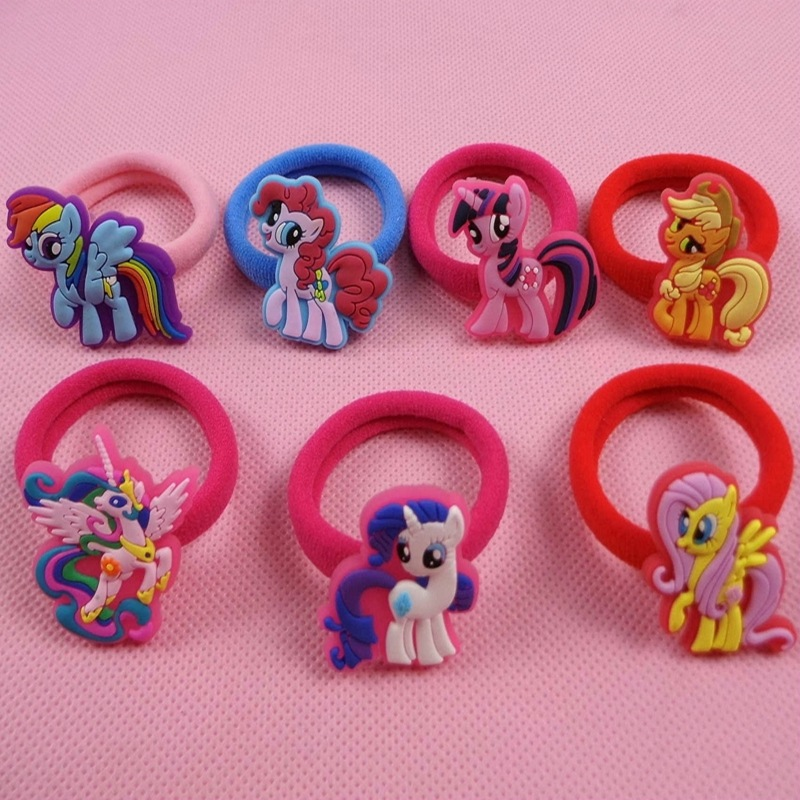 Fashion 7pcs/lot My Cute little Girls ponys Headwear Elastic Hair Bands Cartoon Kids Accessories