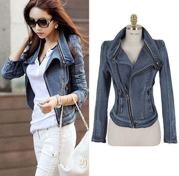 Women fashion jacket open stitch coat large long sleeve jeans outwear woman causal stand collar pocket coat WD699(China (Mainland))