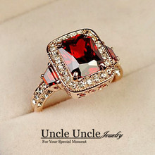 Top Quality Red Ruby Luxury Woman Ring Rose Gold Plated Perfect Cut Rectangle Crystal Ladies Engagement Ring Wholesale 18KRGP(China (Mainland))