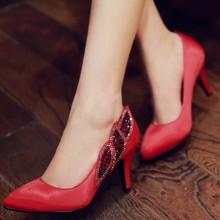 Elegant mature ladies evening dress shoes pointed toe high heels red black silk shoes Rhinestone pumps(China (Mainland))